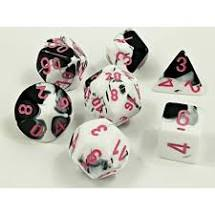 chessex gemini black white/pink polydral 7-die set