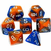 Chessex 7-Die set Blue-Orange/White