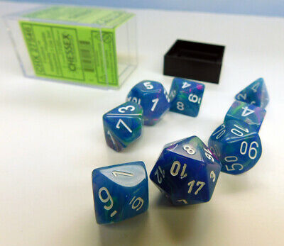 Chessex Festive Polyhedral 7-Die Set - Waterlily w/white