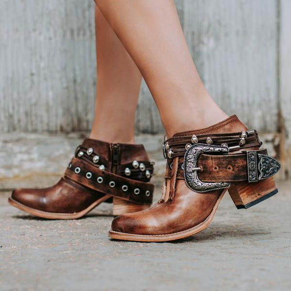 Women Vintage Chunky Heel Buckle Side Zipper Ankle Booties
