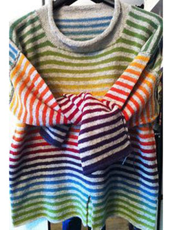 Crew Neck Knitted Casual Vintage Striped Shirts & Tops
