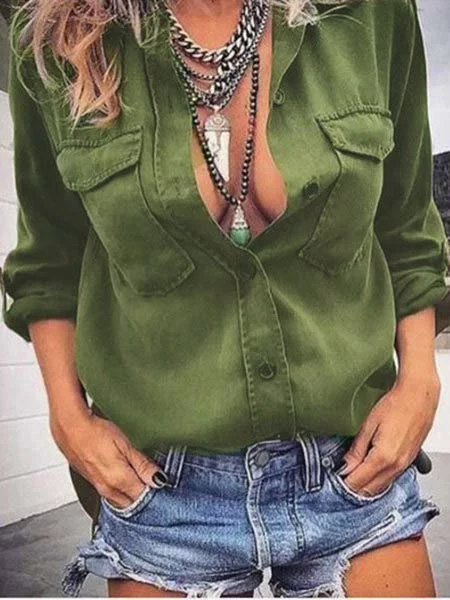 Army Green Cotton Long Sleeve Solid Blouse & Shirts