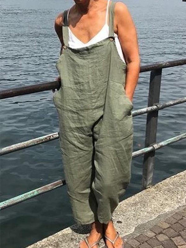 Women Casual Solid Sleeveless Pockets Cotton Jumpsuits Jeans Pants Overalls