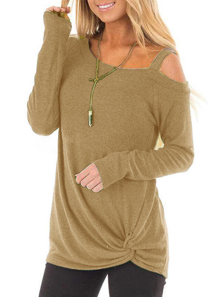 Casual Paneled One Shoulder Long Sleeve T-Shirts
