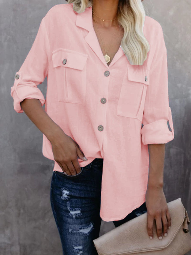 White Solid Long Sleeve Buttoned Cotton-Blend Shirts & Tops