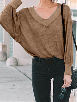 Autumn Casual Basic Daily Knitted V-neck Long Sleeve Cotton Top