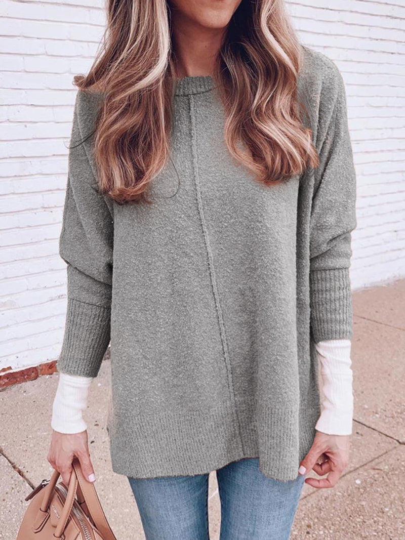 Plus Size Casual Crew Neck Solid Long Sleeve Sweater