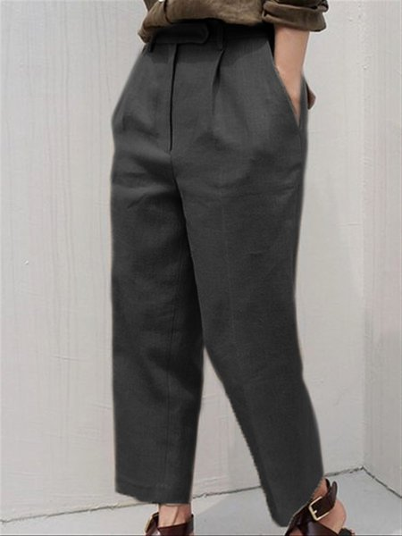 Daily Casual Basic Plus Size Cotton Long Pants