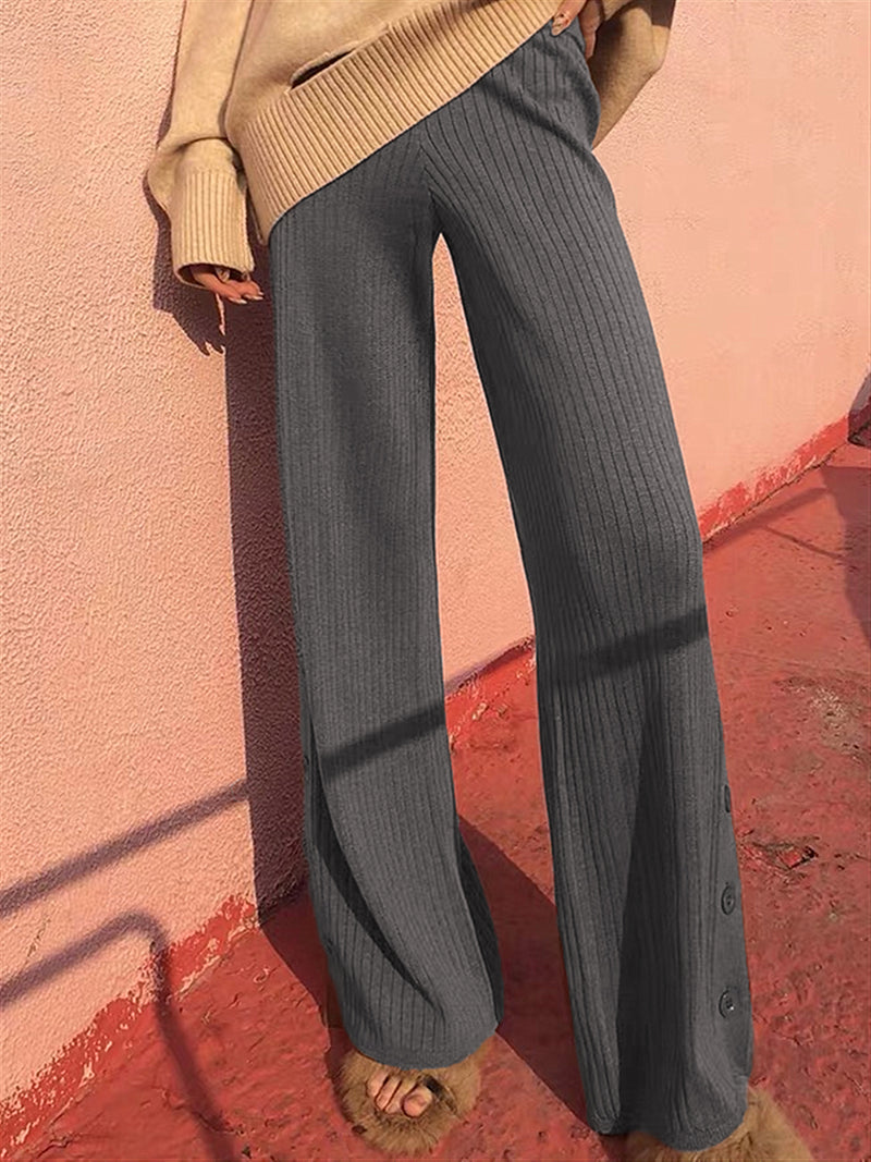 Autumn Winter Casual Basic Daily Warm Knitted Long Pants