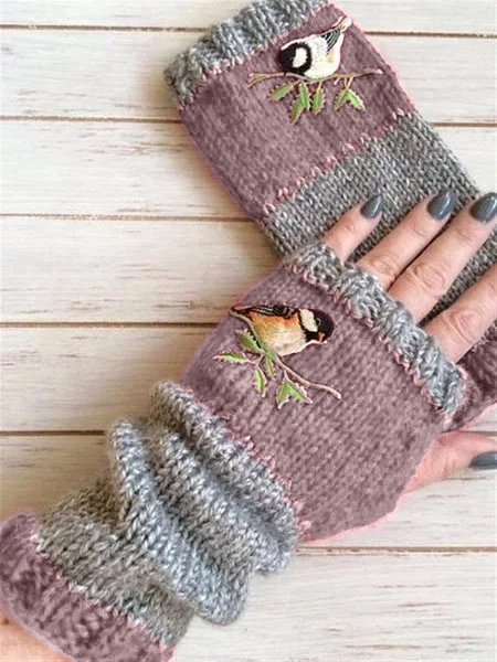 Casual Vintage Autumn Winter Basic Flora Knitted Gloves