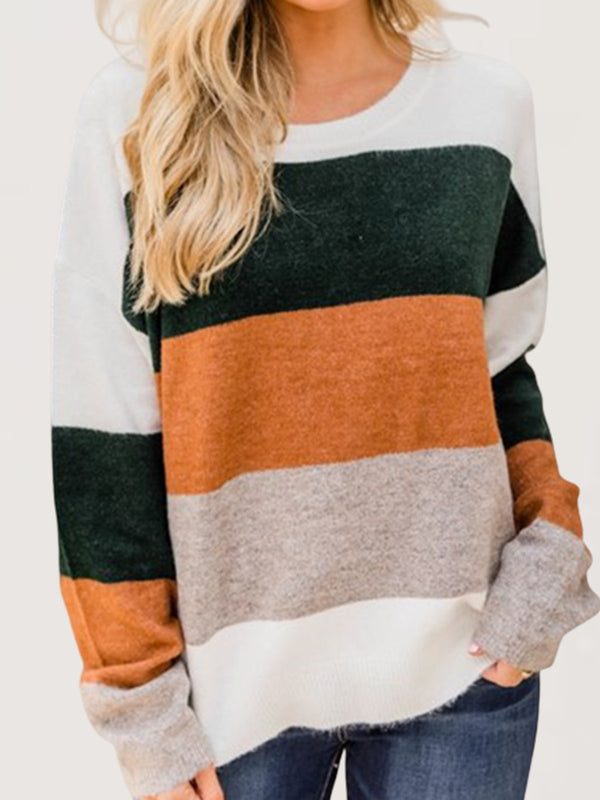 Autumn Winter Casual Basic Crew Neck Knitted Sweatshirt