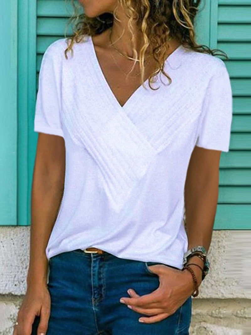 Solid Short Sleeve Cotton V Neck Shirts