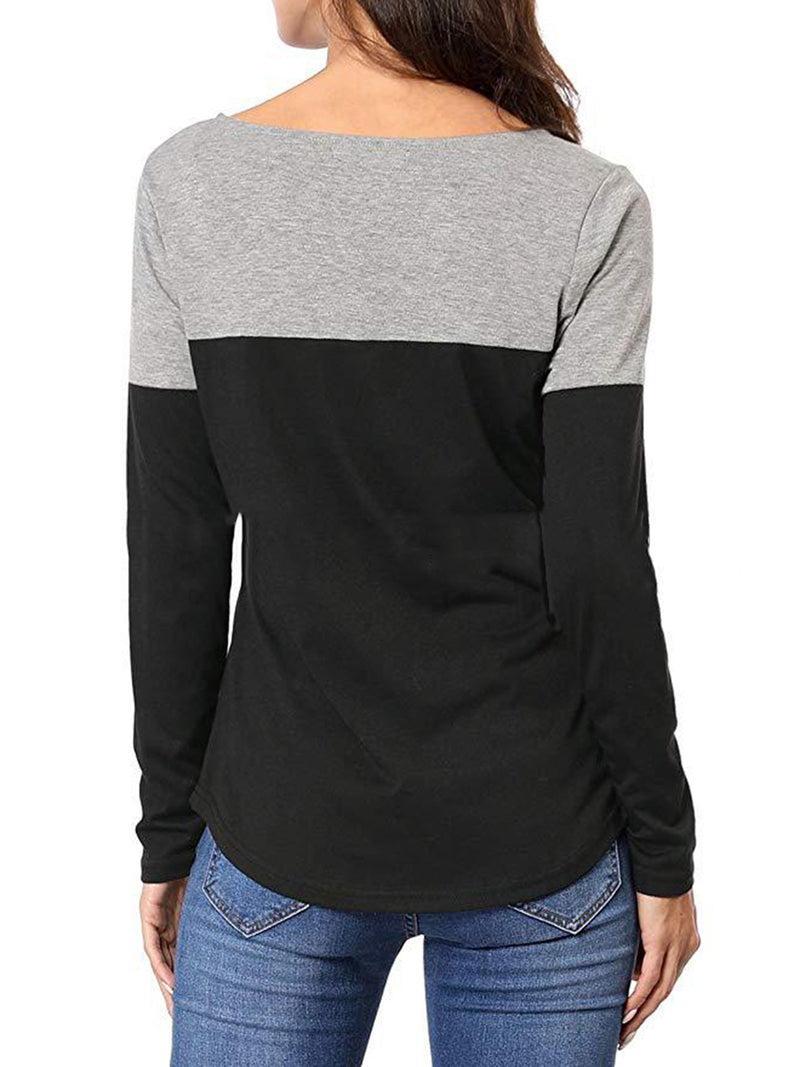 Long Sleeve Simple & Basic V-neck T-shirt