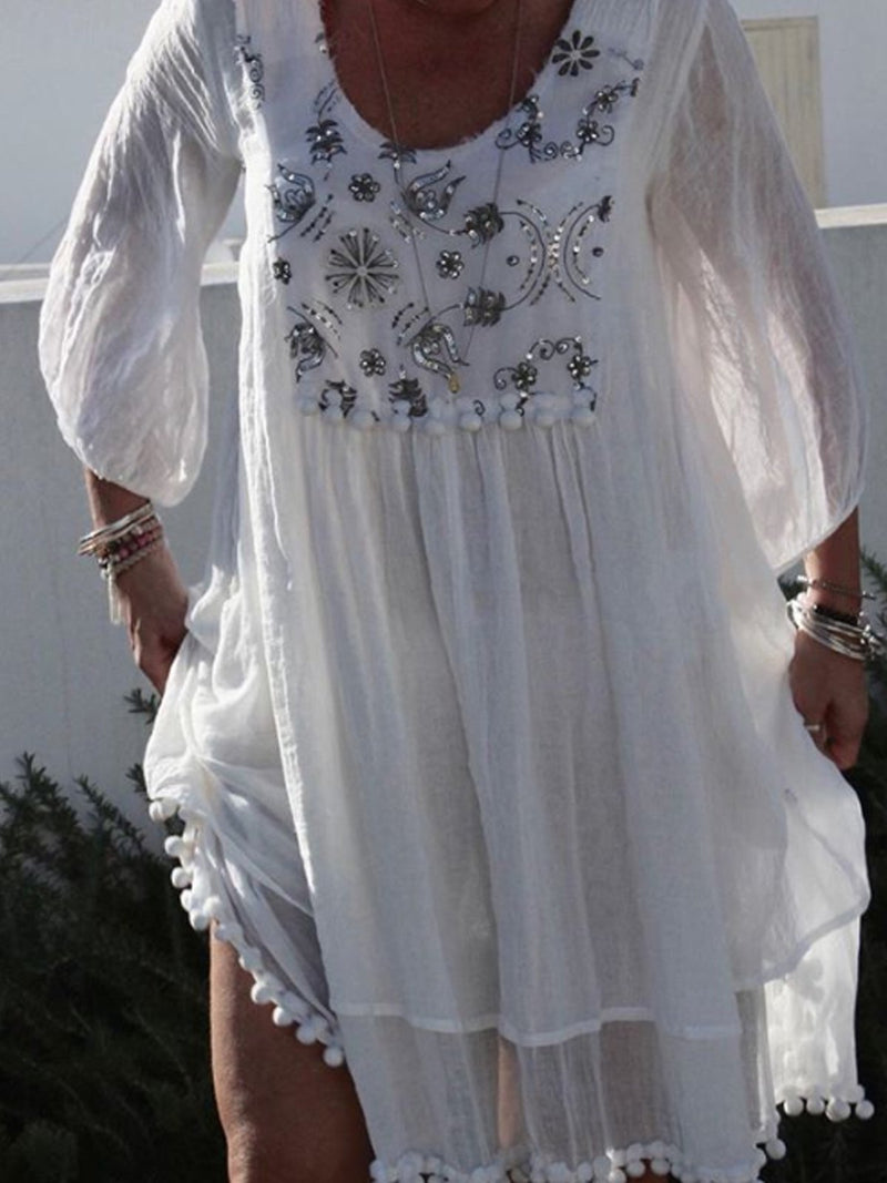 White Round Neck Casual Cotton-Blend Patchwork Dresses
