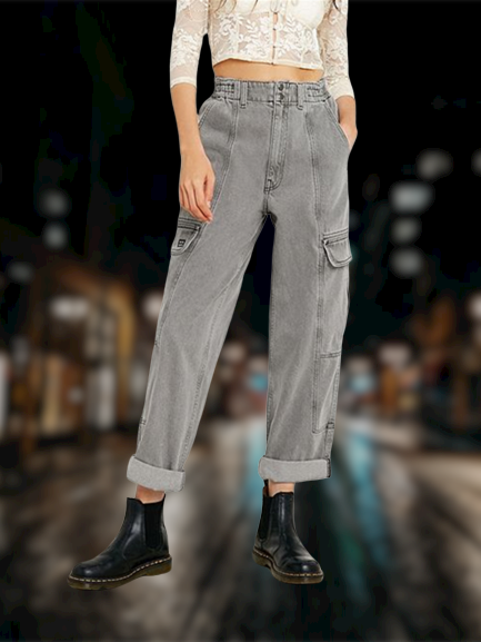 Denim Casual Plain Pants