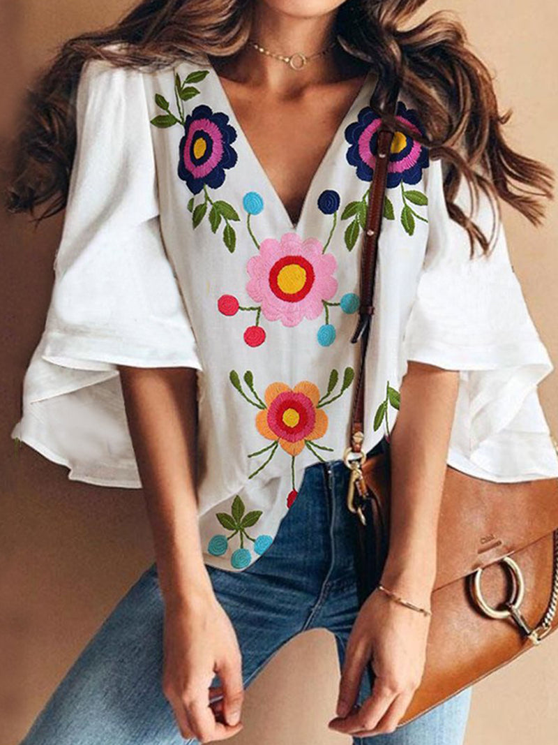Bell Sleeve Plus Size Floral V Neck Sweet Blouses Tops