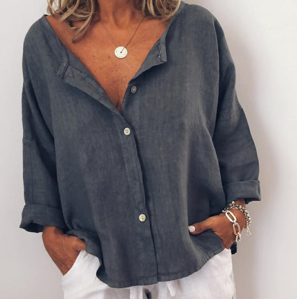 Women Casual Solid V Neck Cotton Long Sleeve Buttoned Tops