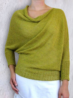 Yellow Green Cowl Neck Casual Shirts & Tops