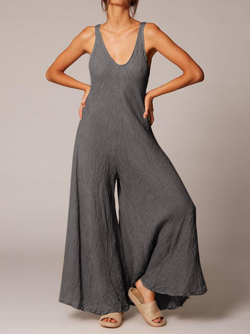 Plus Size Women Solid Sleeveless U-neck Casual Jumpsuits