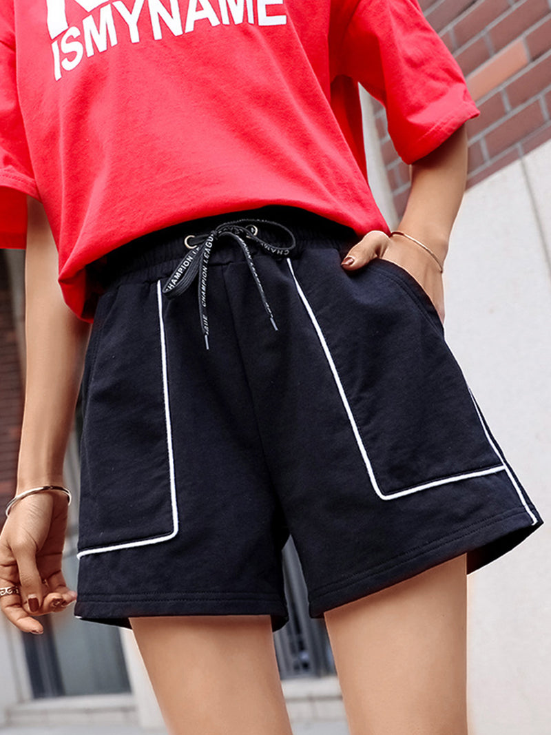 Plus Size Women Striped Casual Shorts