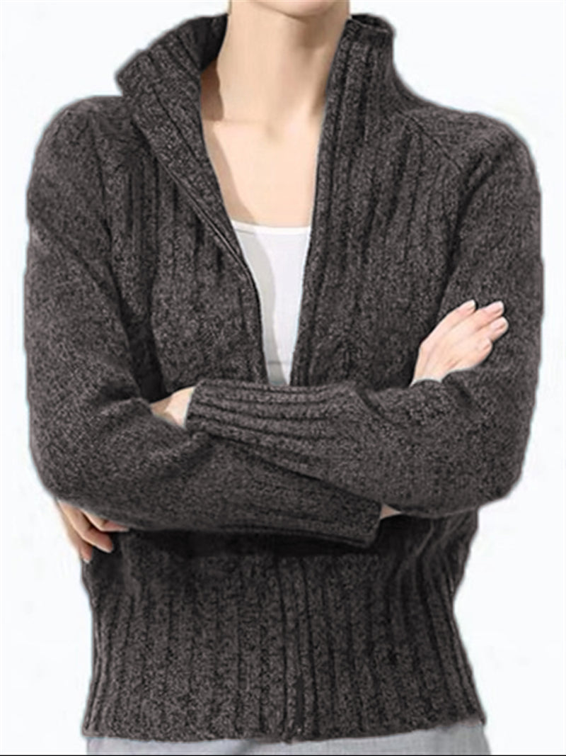Autumn Winter Casual Basic Daily Long Sleeve Knitted Long Sleeve Coat