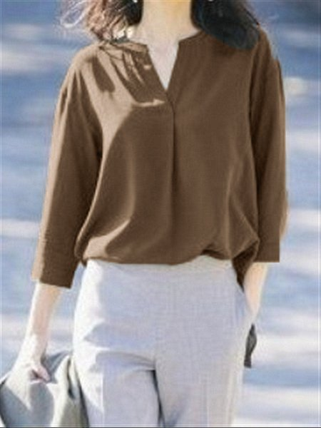 Casual Basic daily V-neck Long Sleeve Top