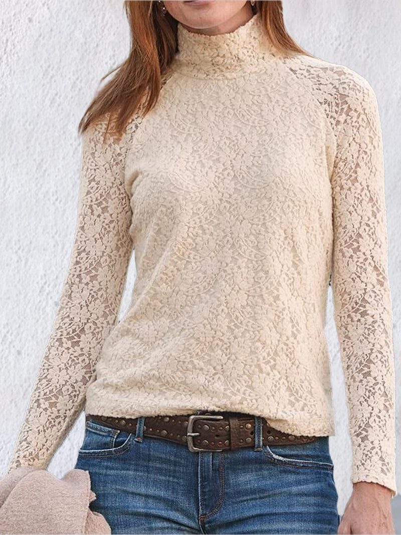 Apricot Shift Casual Turtleneck Lace Shirts & Tops
