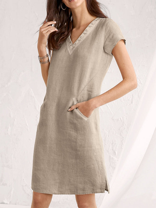 Solid Casual V Neck Linen Dresses