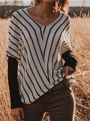 Casual Cotton-Blend Round Neck Sweater