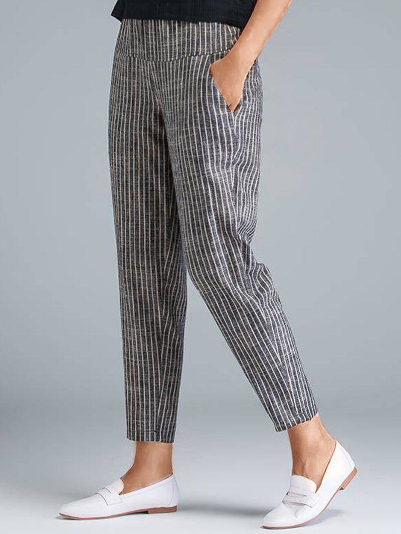 Plus Size Women Striped Casual Pants