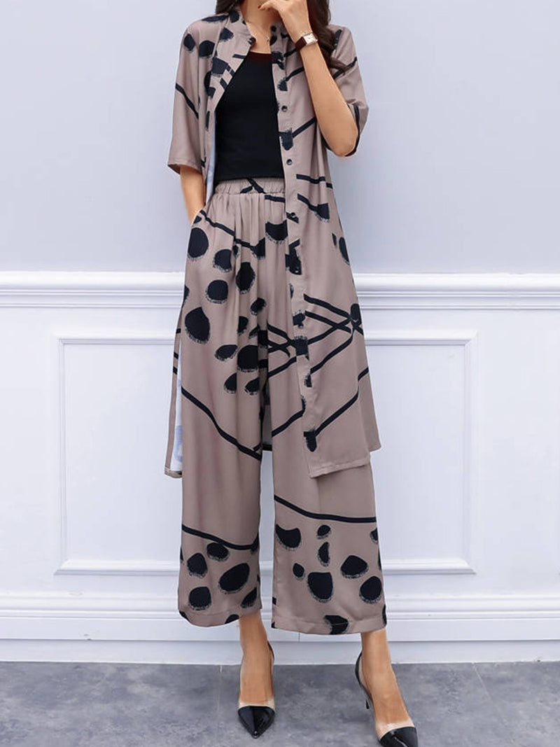 Casual Plus Size Cardigan Wide Leg Pants Fashion Two-piece