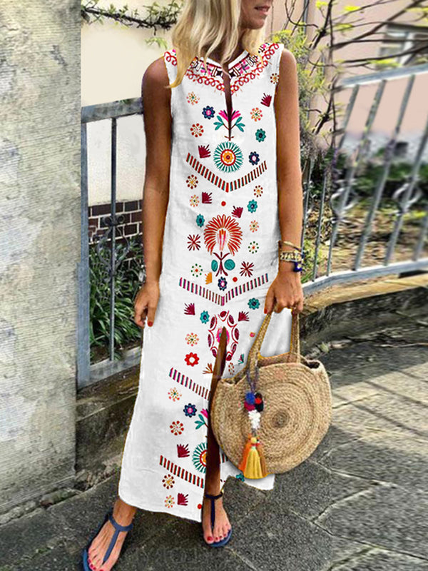 White Casual Floral Cotton Summer Dress