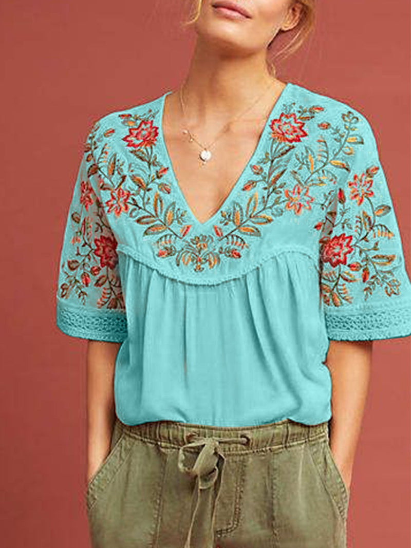 embroid Women Short Sleeve Casual shirt Top