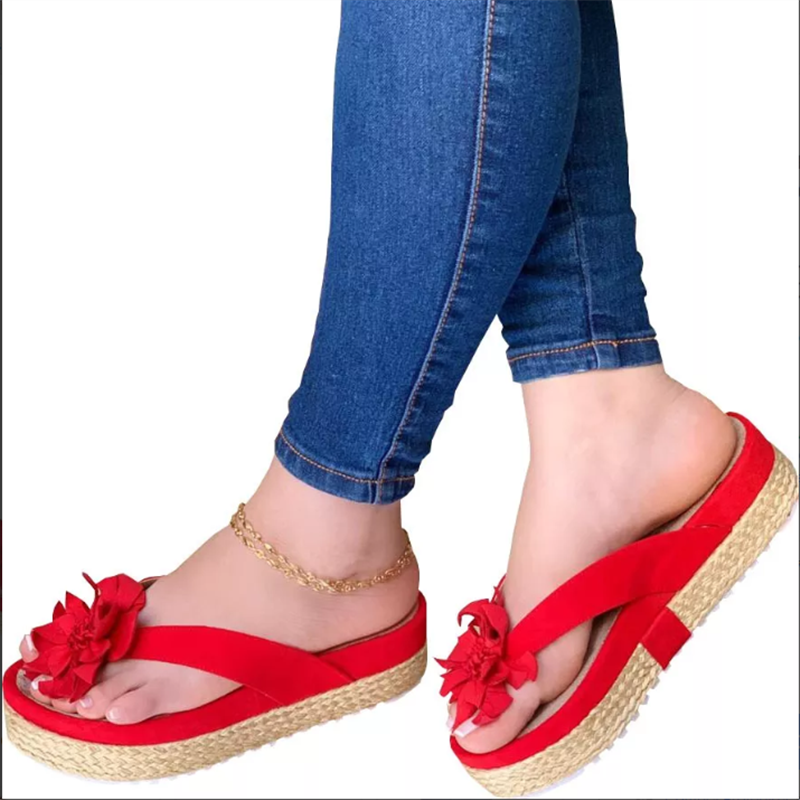 Women Casual Summer Flip-Flops Flower Platform Sandals