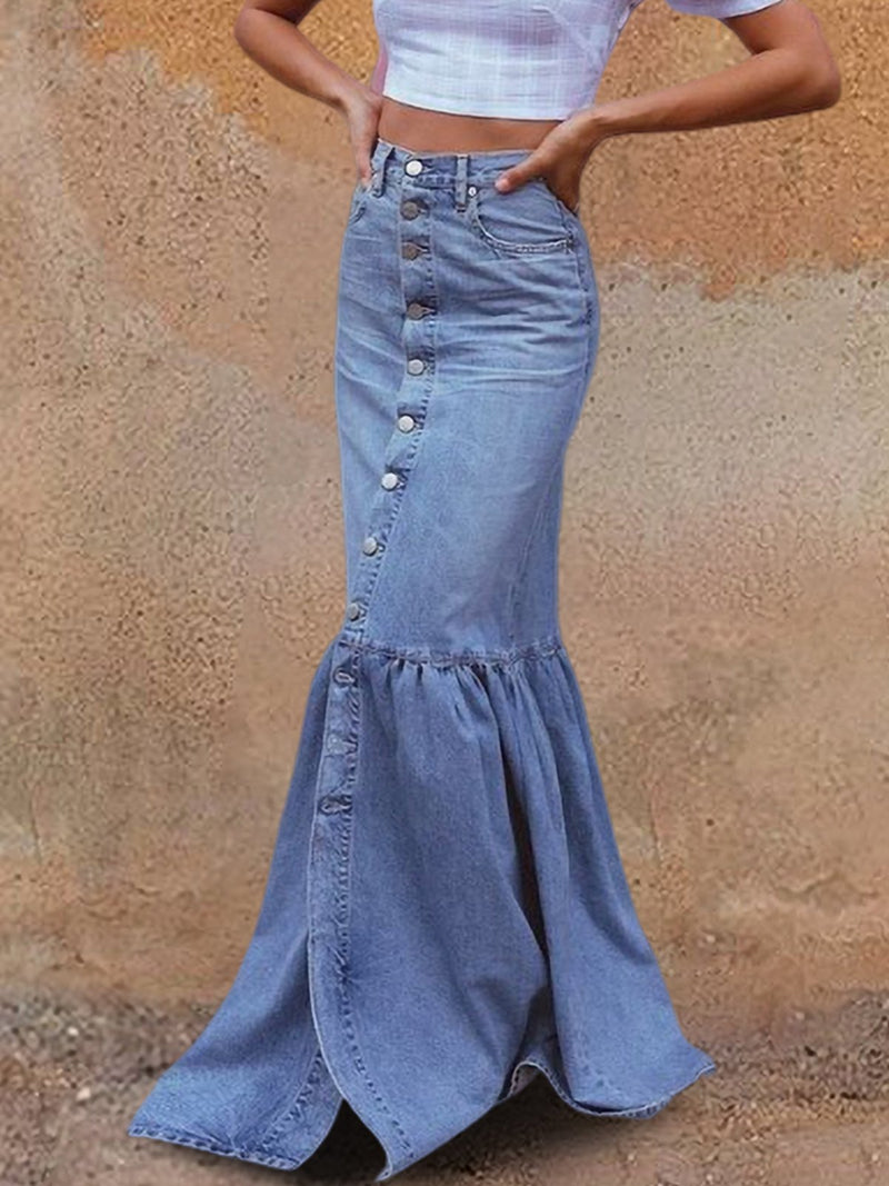 Blue Casual Denim Washed Skirts
