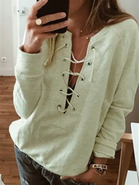 2019 Womens Fall/Autumn Sweatshirts Plain Casual Eyelet V Neck