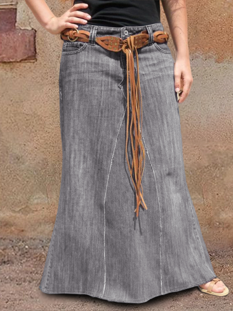 Casual Denim Washed Skirts