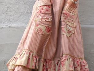 Pink Stripes Paneled Vintage Skirts