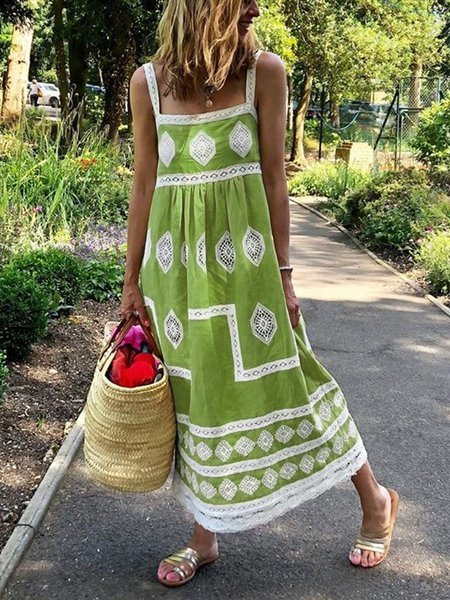 Women Boho Holiday Graphic Linen Maxi Dresses
