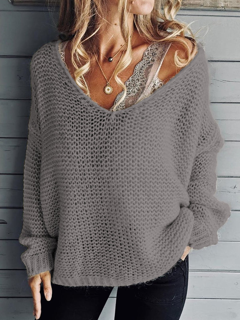 Plus Size Casual Solid V Neck Knitted Long Sleeve Sweater