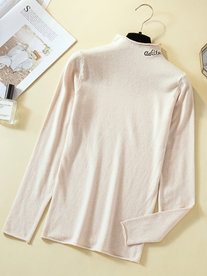 Plus size super soft knit bottoming shirt Solid Shirts & Tops