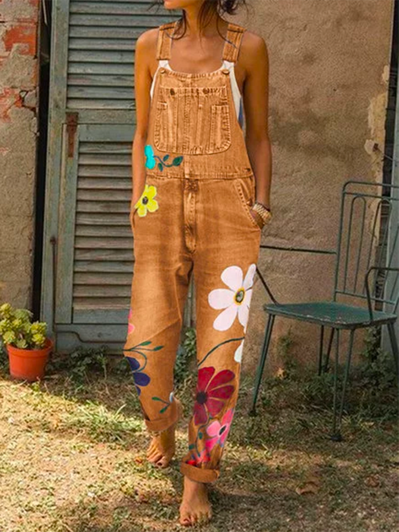 Women Fashion Denim Floral-Print Jumpsuits Overalls