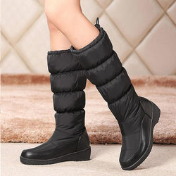 Women Winter Mid-Calf Back Lace-Up Boots