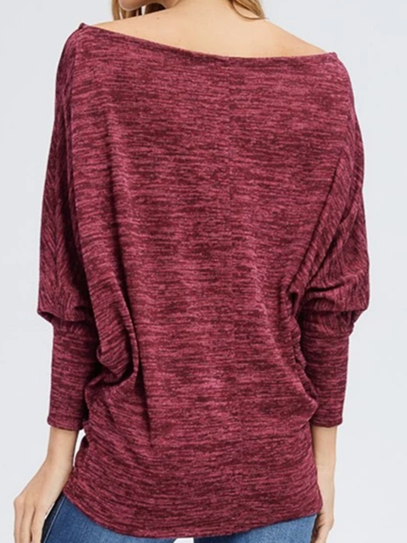 Wine Red Shift Scoop Neckline Cotton Casual Sweatshirt