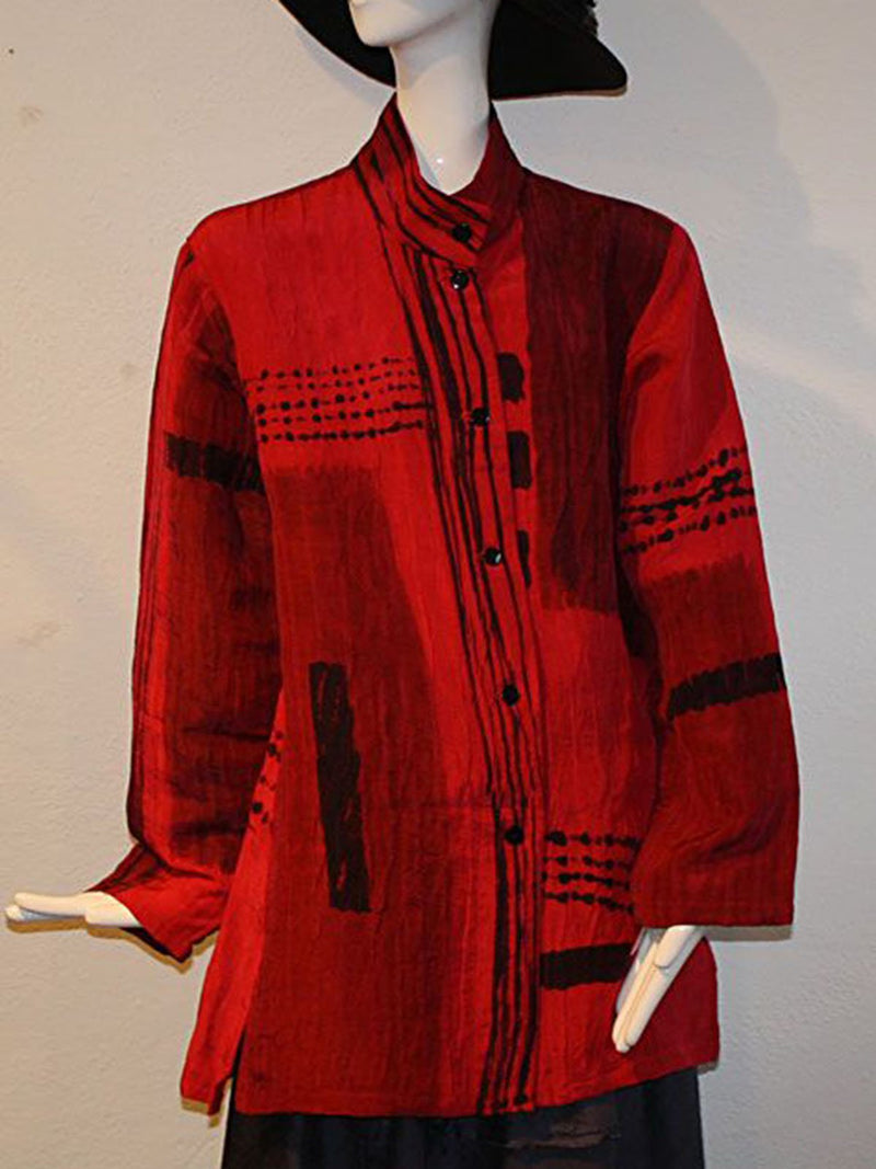 Women Red Vintage Geometric Stand Collar Shirts & Tops