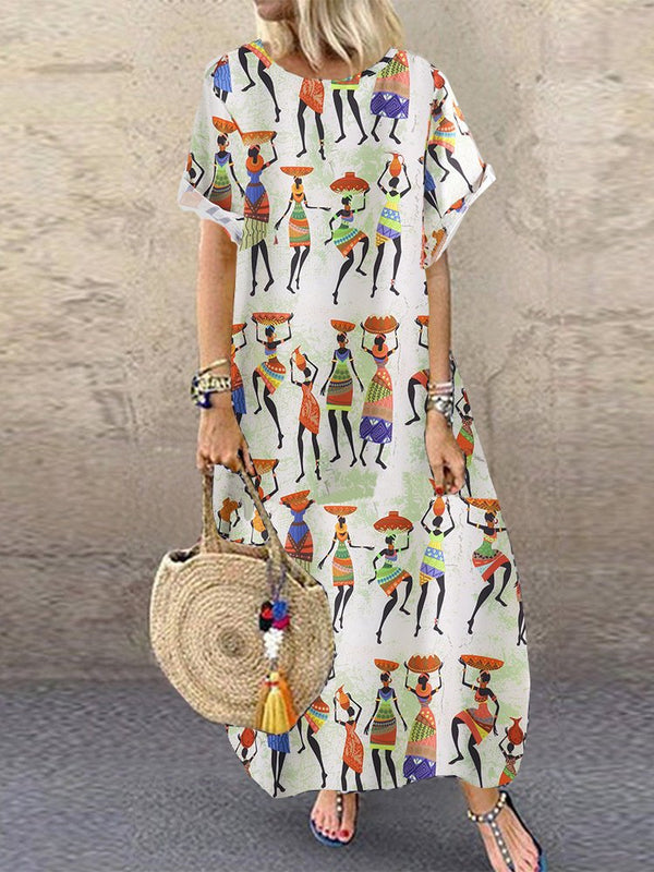 White Round Neck Casual Swing Patchwork Cotton-Blend Maxi Dresses