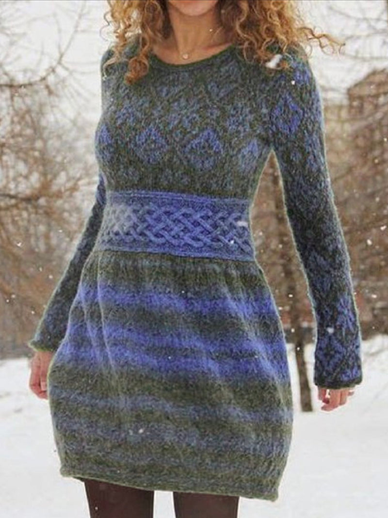 Long Sleeve Round Neck A-line Casual Sweater Dresses