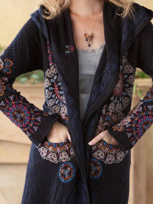 Black Cotton-Blend Casual Plus Size Cardigan