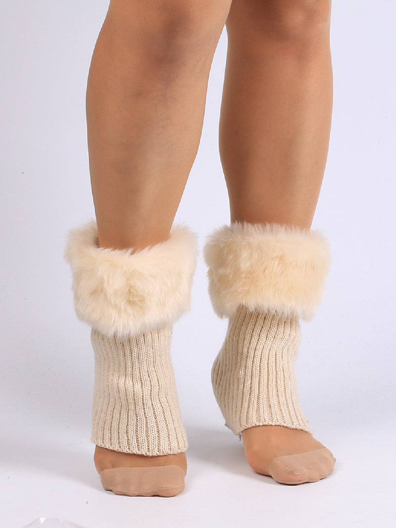 Fashion Solid Color Faux Fur Spliced Knit Leg Warmer