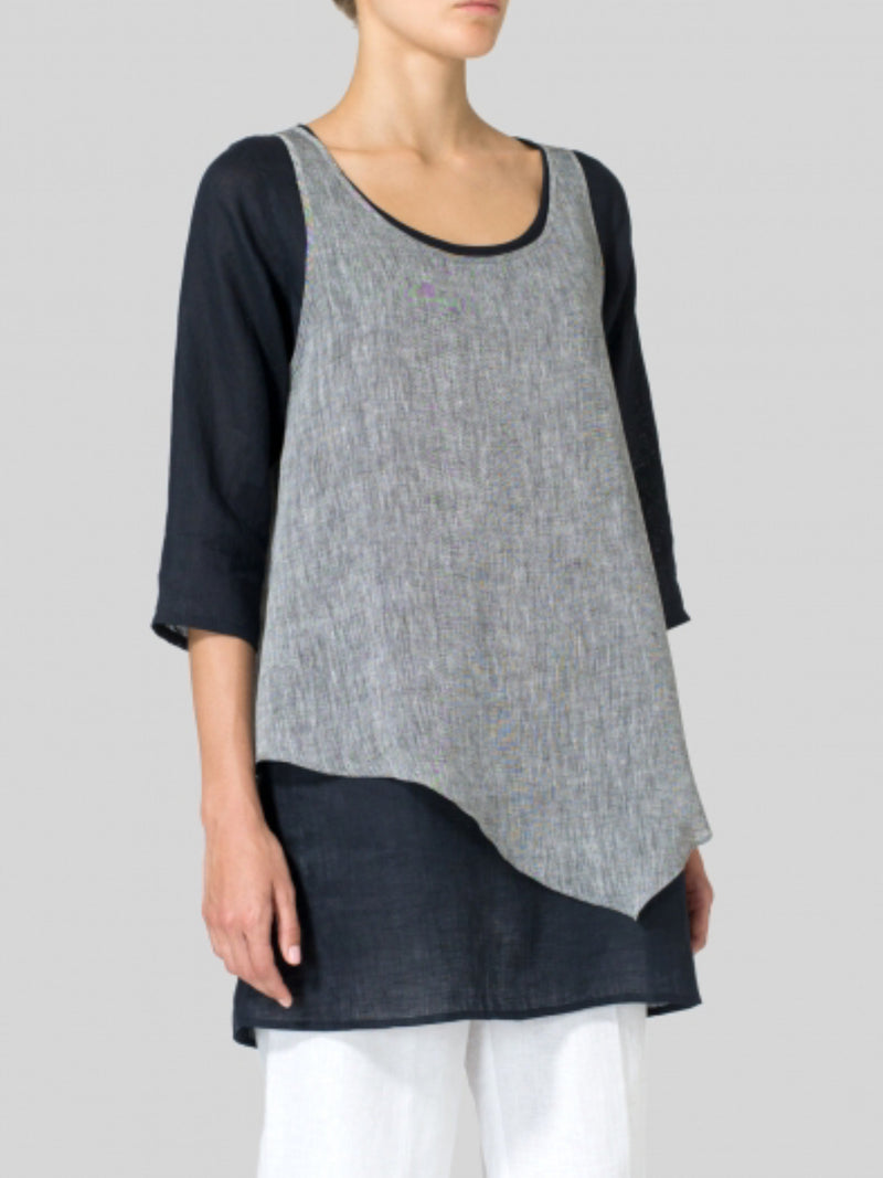 Women Casual Double Layer Wrap Tops Tunic Blouse Shirt